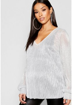 Silver Maternity Shimmer Plisse Plunge Swing Top