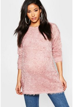 Maternity Eyelash Crew Neck Jumper, Blush, Женские
