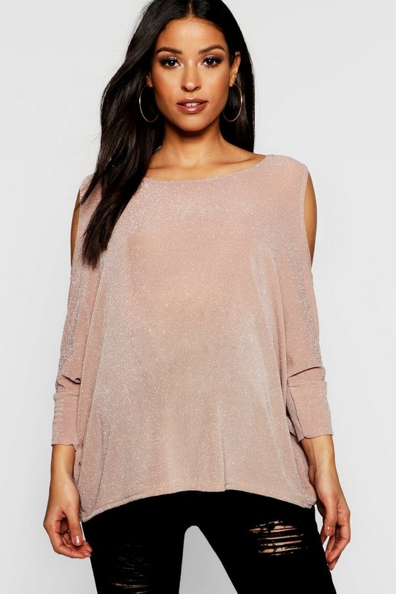 Womens Maternity Shimmer Cold Shoulder Swing Top