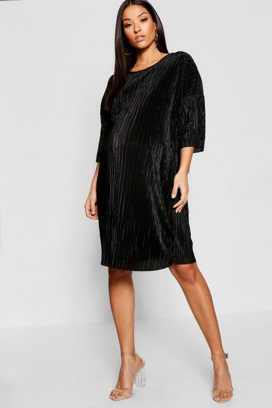 Maternity Plisse T-Shirt Dress