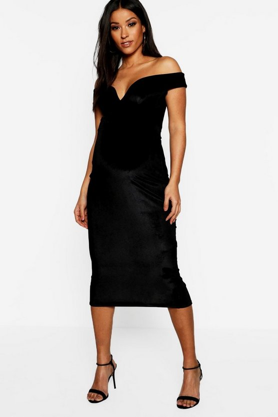 Maternity Velvet Sweetheart Off The Shoulder Midi Dress