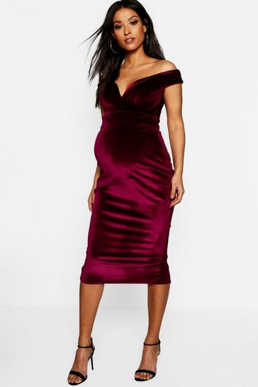 Womens Wine Maternity Velvet Sweetheart Off The Shoulder Dress