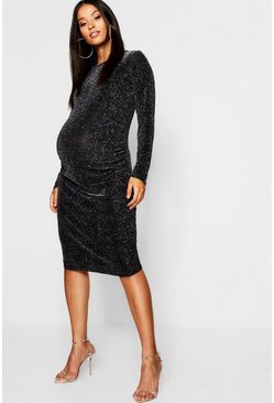 Womens Black Maternity Shimmer Long Sleeve Bodycon Dress