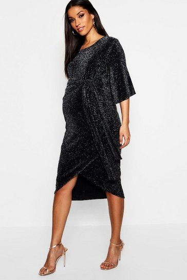 Womens Black Maternity Shimmer Kimono Sleeve Tie Wrap Dress