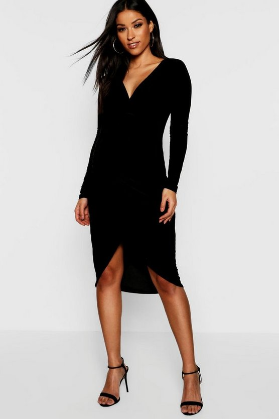 Womens Black Maternity Plunge Slinky Wrap Dress