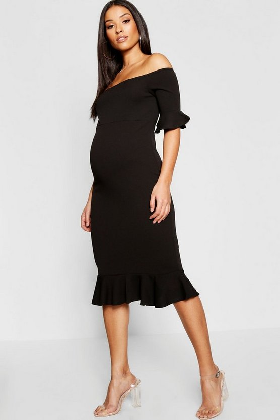 Womens Maternity Bardot Frill Hem Midi Dress
