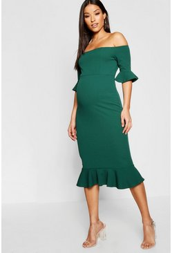 Dark green Maternity Bardot Frill Hem Midi Dress