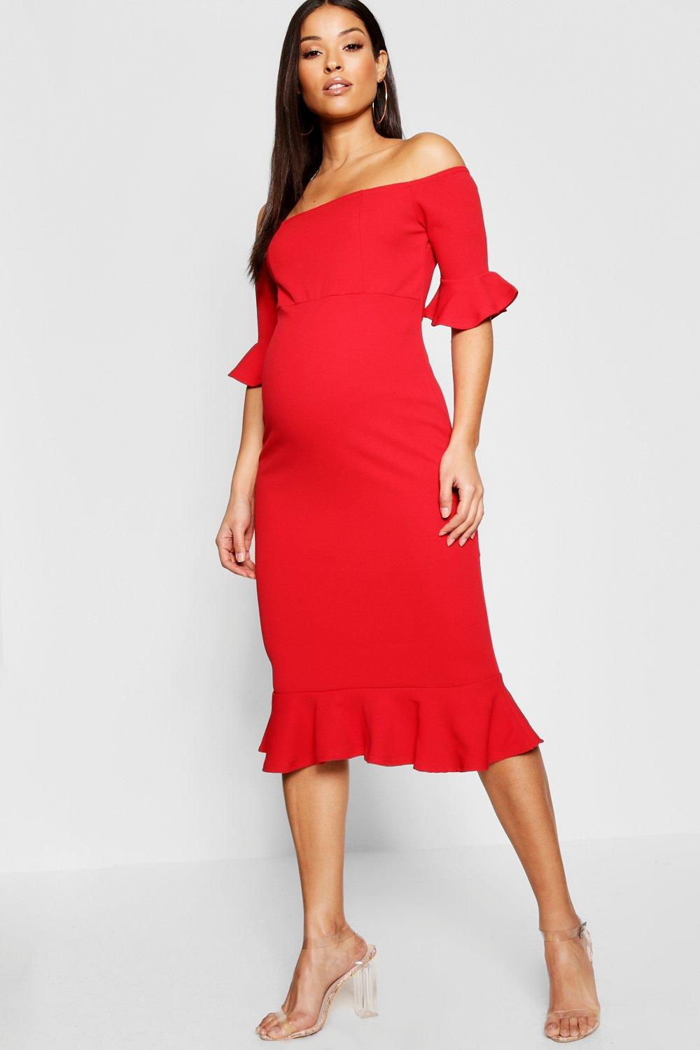 Maternity Bardot Frill Hem Midi Dress. Hover to zoom 1c1cf8f0e