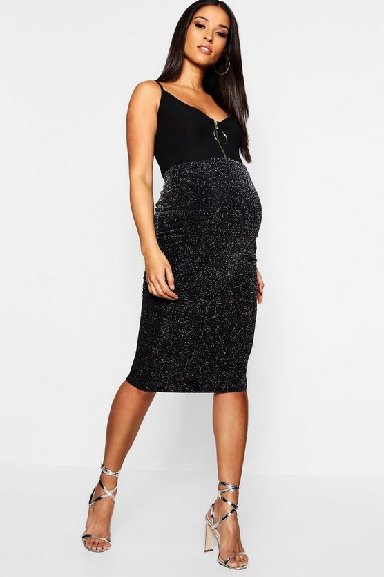 Maternity Shimmer Metallic Midi Skirt