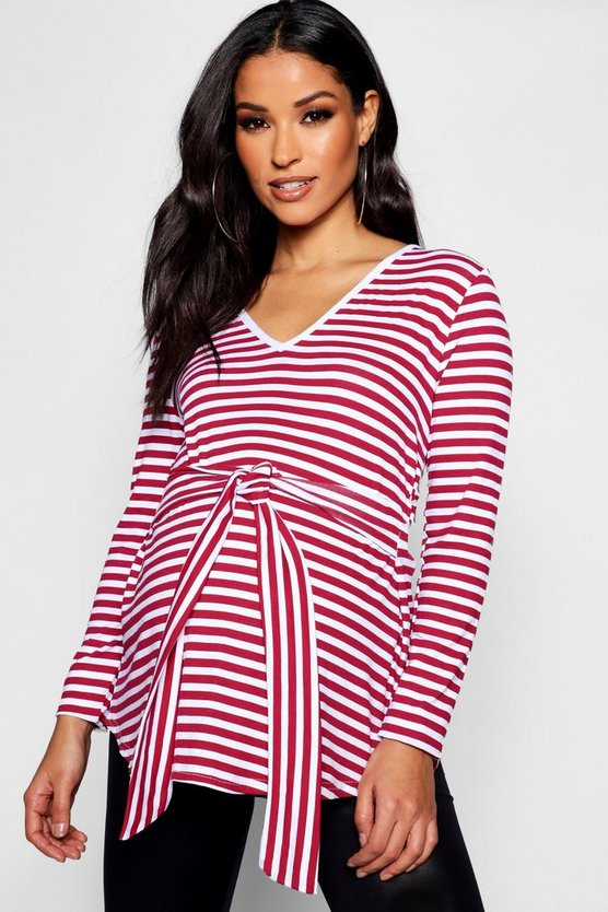Maternity Stripe V Neck Front Knot Top