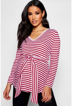 Womens Raspberry Maternity Stripe V Neck Front Knot Top