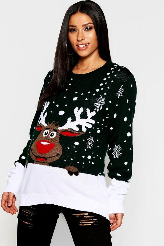 Green Maternity Reindeer Xmas Sweater