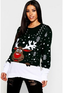 Womens Green Maternity Reindeer Xmas Sweater
