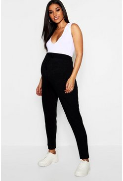 Womens Black Maternity Rib Straight Leg Trouser