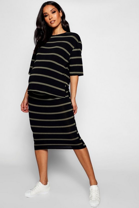 Maternity Soft Knit Stripe Oversized Tee