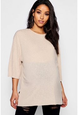 Womens Stone Maternity Oversized Rib T-Shirt