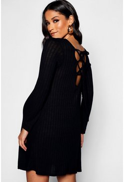 Womens Black Maternity Rib Long Sleeve Lace Up Back Shift Dress