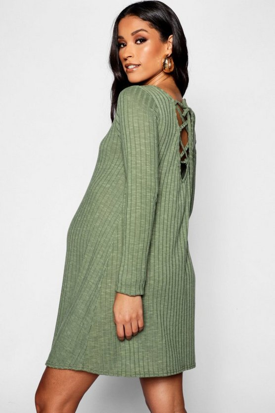 Maternity Rib Long Sleeve Lace Up Back Shift Dress