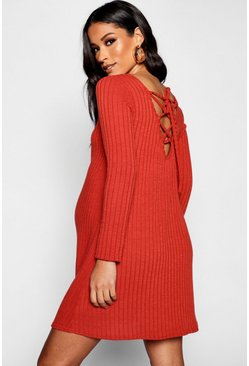 Rust Maternity Rib Long Sleeve Lace Up Back Shift Dress