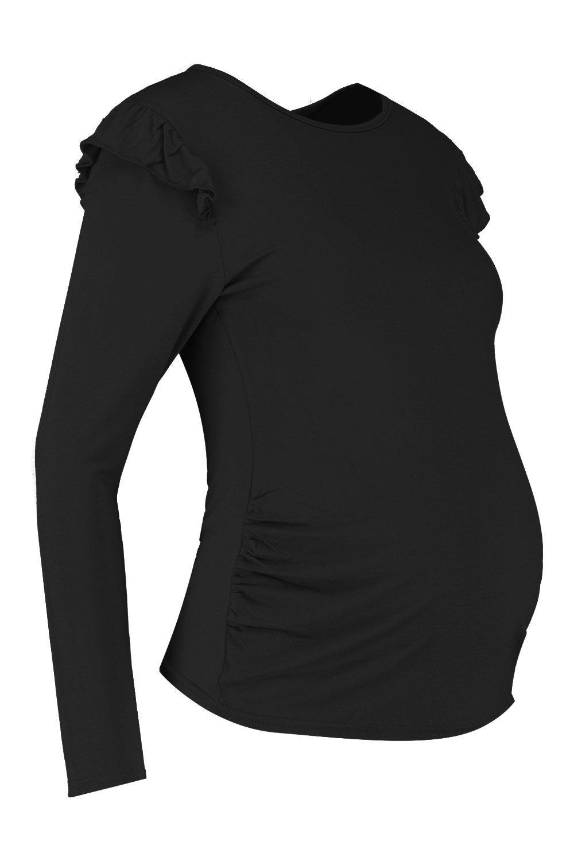 de Premamá con negro volantes Camiseta larga hombros en manga Tx0nBAwnd