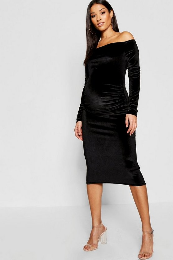 Womens Black Maternity Velvet Off The Shoulder Midi Dress