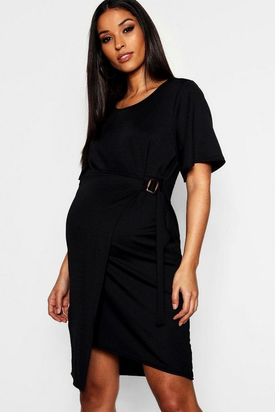 Black Maternity Mock Horn Ring Wrap Dress