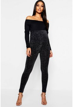 Womens Black Maternity Metallic Legging