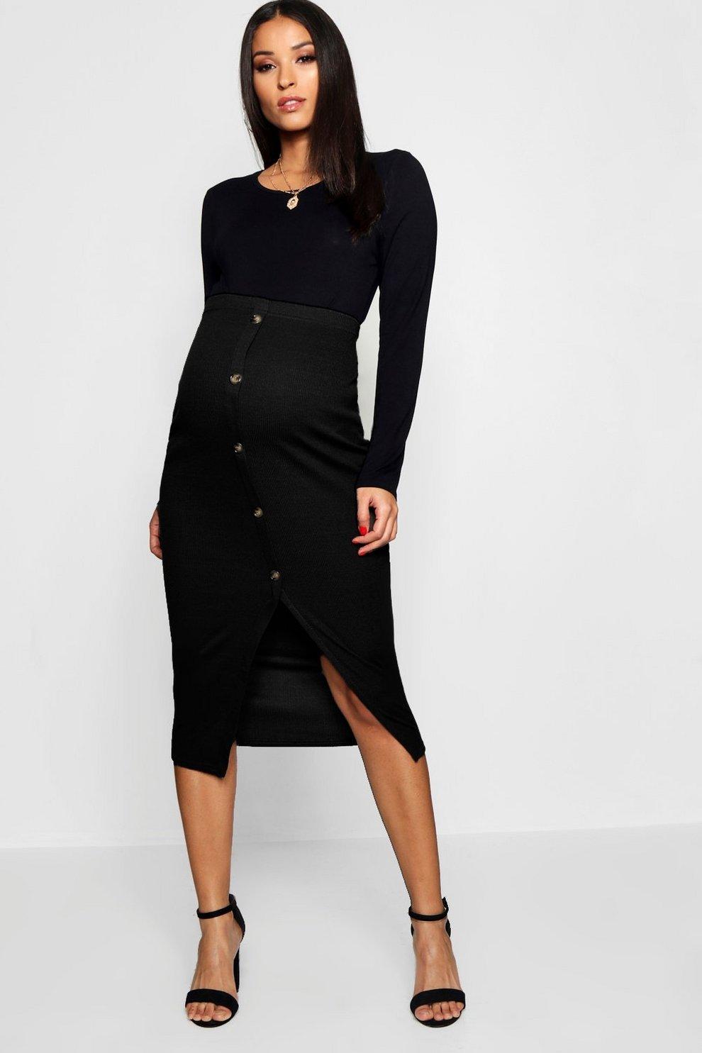 a5f64abfef Womens Black Maternity Soft Rib Mock Horn Button Midi Skirt