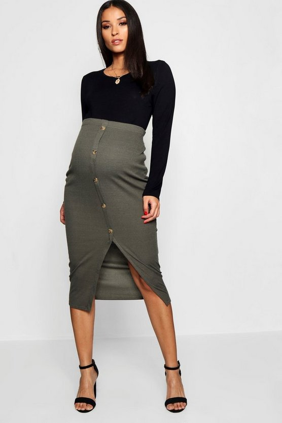 Maternity Soft Rib Mock Horn Button Midi Skirt