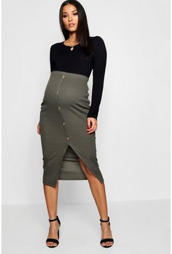 04ecc28cd5 Maternity Soft Rib Mock Horn Button Midi Skirt | Boohoo