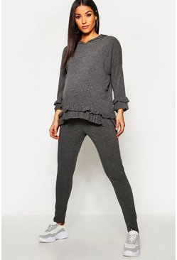 Womens Grey marl Maternity Rib Frill Hem Hoody Lounge Set