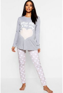 Womens Grey Maternity Mini Me PJ Set