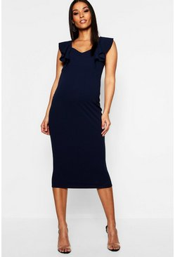 Dam Navy Maternity Frill Bodycon Midi Dress