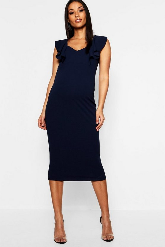 Maternity Frill Bodycon Midi Dress