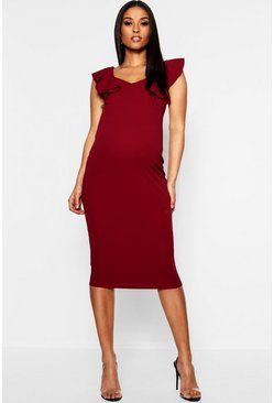 Wine Maternity Frill Bodycon Midi Dress