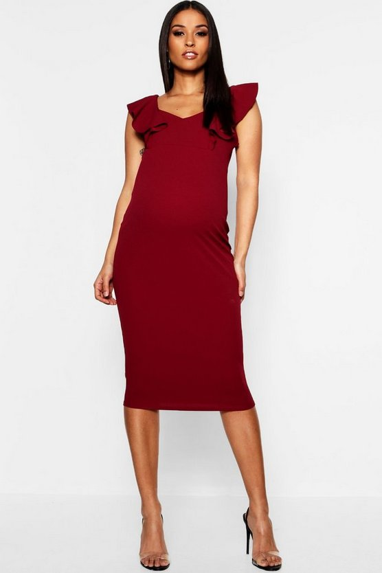 Womens Maternity Frill Bodycon Midi Dress
