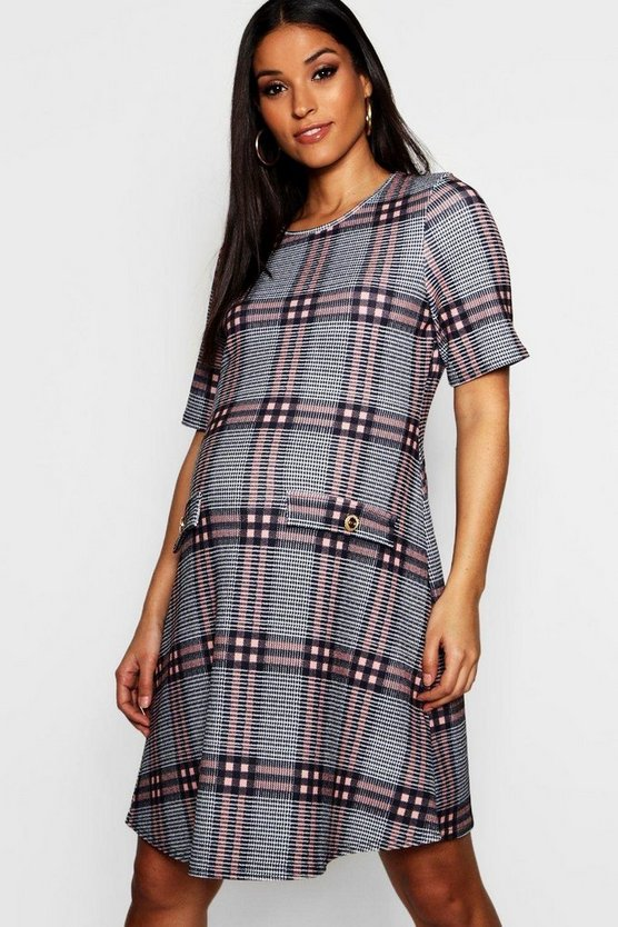 Womens Black Maternity Check Gold Button Mini Shift Dress