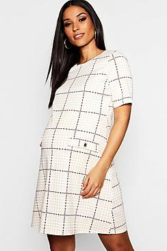 Vintage Style Maternity Clothes Maternity Check Button Shift Mini Dress $34.00 AT vintagedancer.com