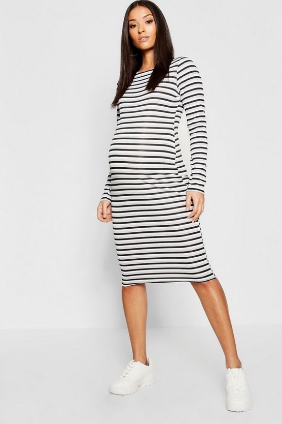 Womens Black Maternity Rib Stripe Long Sleeve Midi Dress