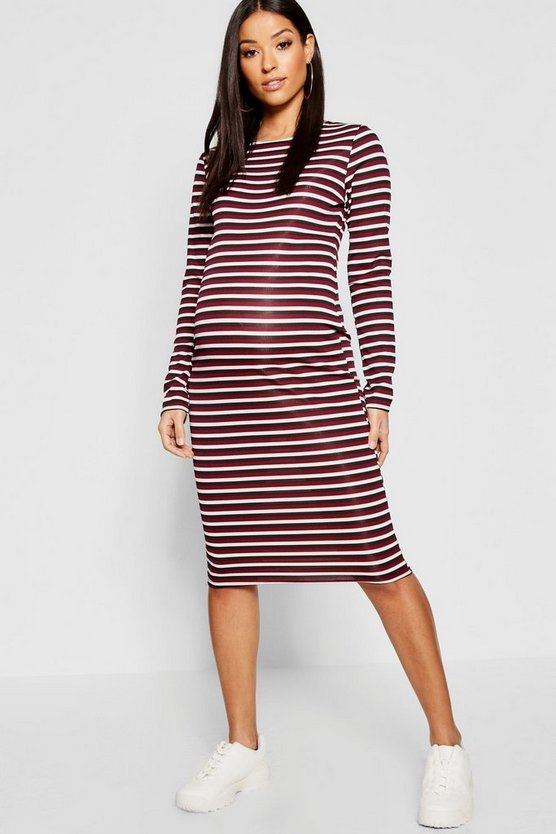 Maternity Rib Stripe Long Sleeve Midi Dress