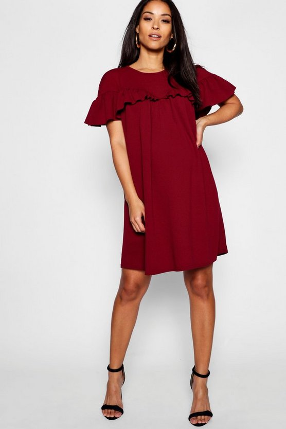 Womens Berry Maternity Frill Smock Dress
