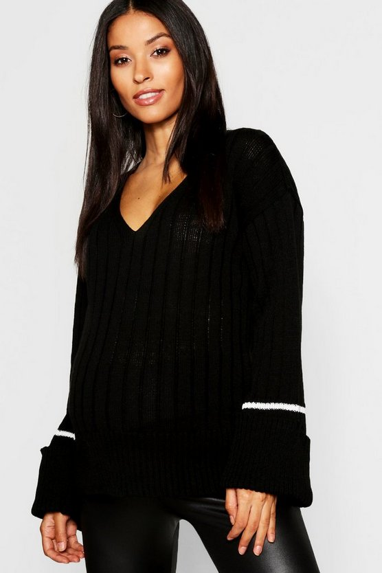Womens Black Maternity Wide Rib Knitted Sweater