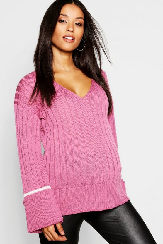 Womens Rose Maternity Wide Rib Knitted Sweater