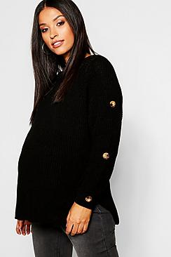 Maternity Horn Button Fisherman Knit Sweater