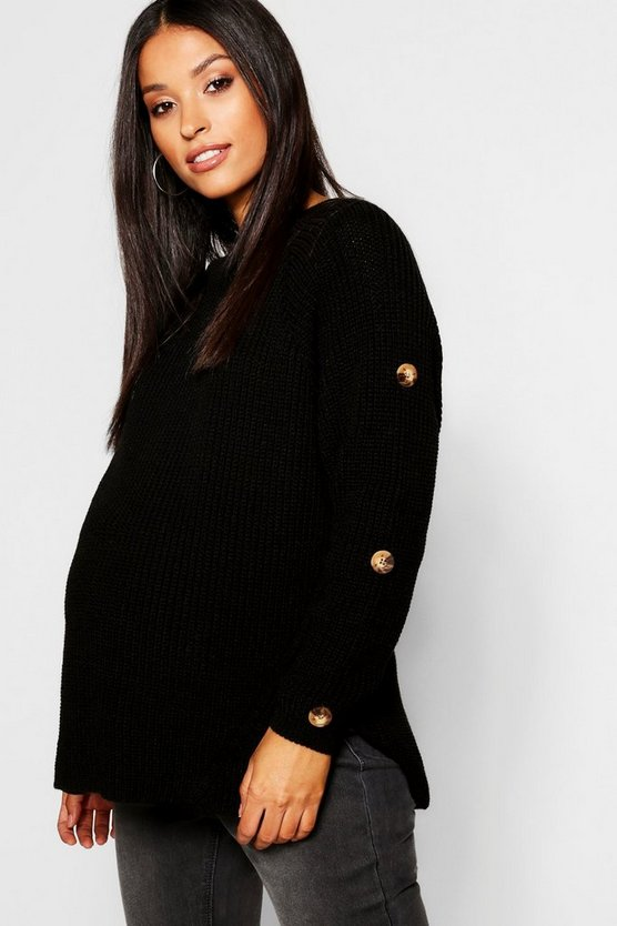 Maternity Horn Button Fisherman Knit Jumper