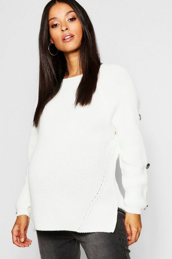 Womens Ivory Maternity Horn Button Fisherman Knit Jumper
