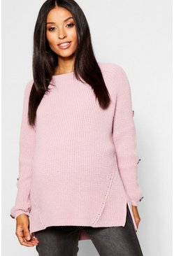 Womens Rose Maternity Horn Button Fisherman Knit Jumper