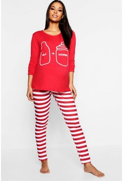 Womens Red Maternity Milk + Cookies PJ Set