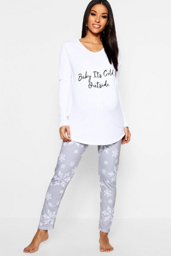 White Maternity Baby It's Cold Outside PJ Set