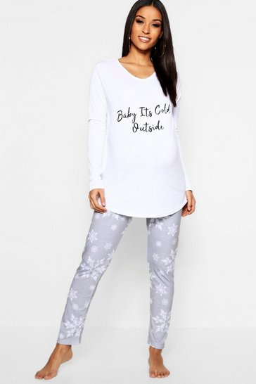 Womens White Maternity Baby It's Cold Outside PJ Set